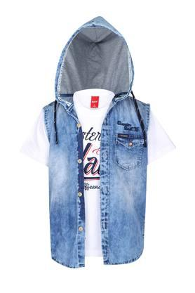 Boys Hooded Assorted Shirt with Tee Set
