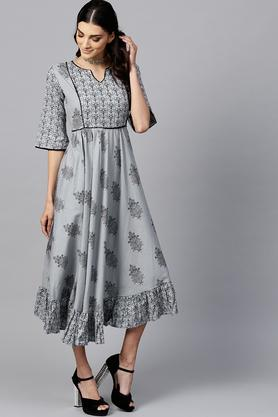 Womens Notched Collar Printed Flared Dress
