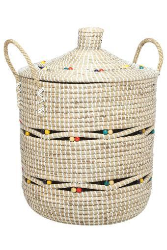 Round Seagrass Basket With Handle - 35cm