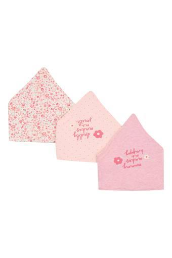 Girls Floral Print and Graphic Print Bibs - Pack Of 3