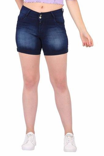 Womens 5 Pockets Heavy Wash Shorts