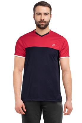 Mens V Neck Colour Block T-Shirt