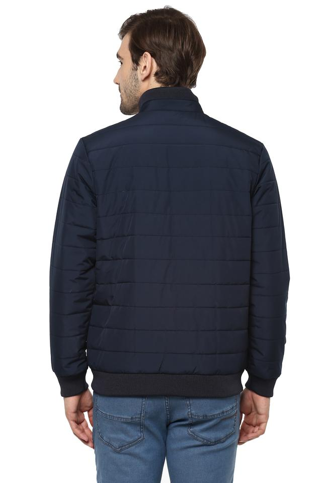 Mens High Neck Solid Quilted Jacket