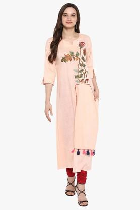 JUNIPER Womens Printed High Low A-Line Kurta With Cuff Sleeves