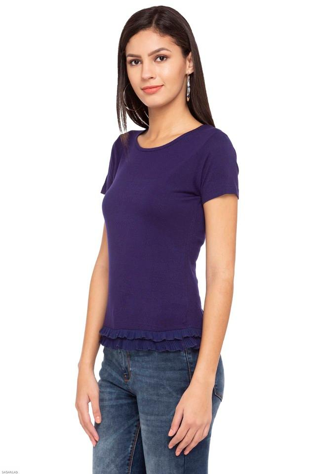 Womens Round Neck Solid T-Shirt