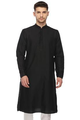 Mens Mandarin Neck Solid Kurta and Churidar Set
