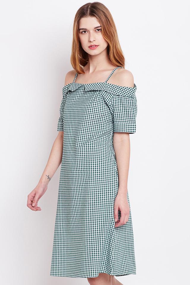 Womens Off Shoulder Checked A-Line Dress