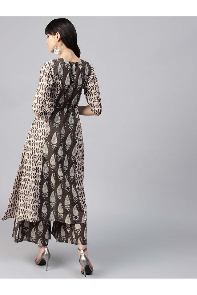 Women Cotton Printed Aline High Low Kurta With Cotton Printed Palazzo