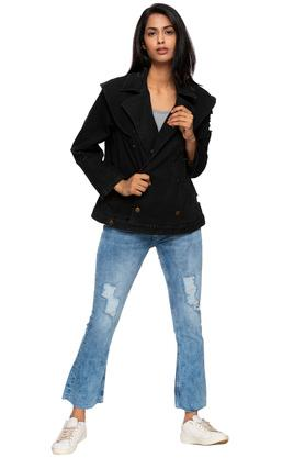 Womens Notched Lapel Distressed Jacket