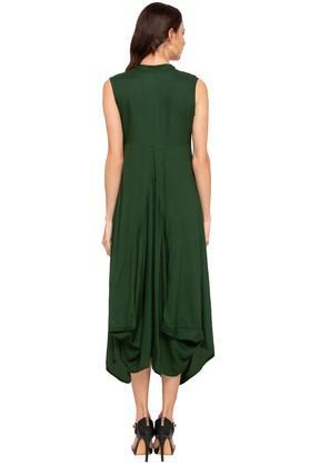 Womens Mandarin Neck Solid Asymmetrical Midi Dress