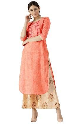 LIBASWomens Cotton Printed Pathani Kurta And Palazzo - 204186273_9557