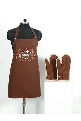 SWAYAMPrinted Adjustable Apron With Oven Mitts - Set Of 3 - 204599789_9126