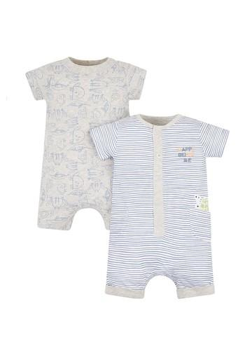 Kids Round Neck Printed and Embroidered Babysuit - Pack of 2