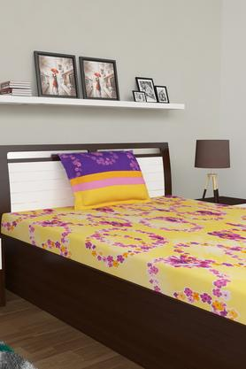 TANGERINEFloral Printed Single Bed Sheet With Pillow Cover