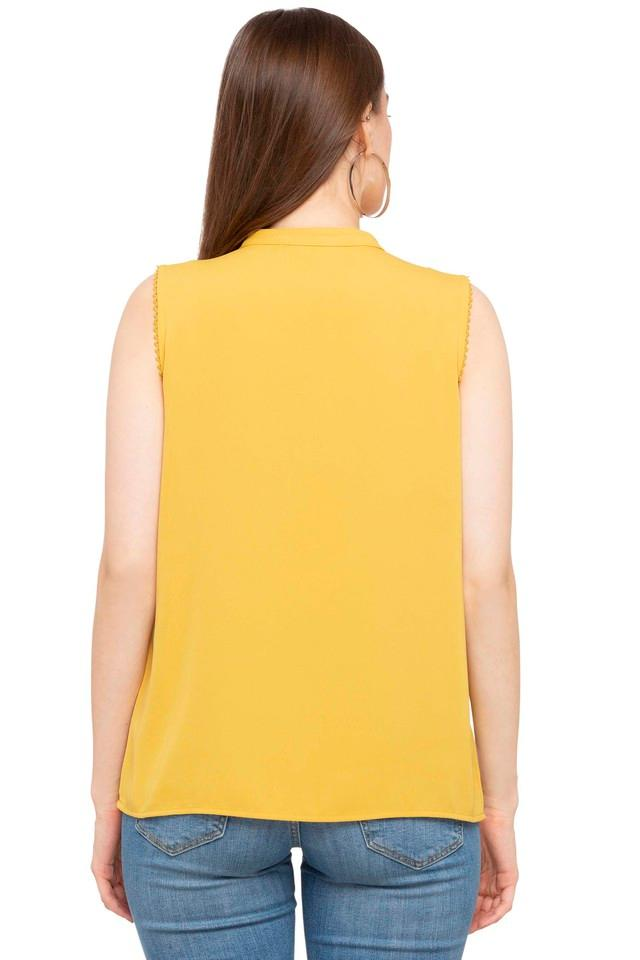 Womens Band Collar Solid Tunic