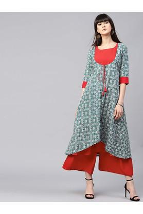 GERUA Women Crepe Solid Aline Kurta With Ethnic Printed Jacket And Solid Crepe Palazzo