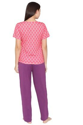 Womens Round Neck Printed Top and Solid Pyjamas Set