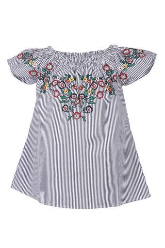 Girls Round Neck Stripe Embroidered Top
