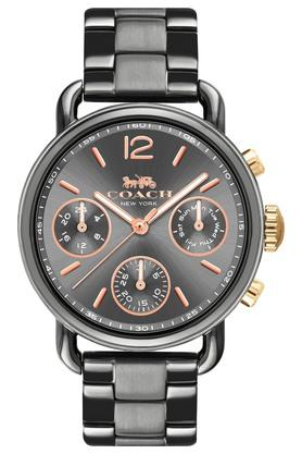 COACH Womens Chronograph Delancey Sport Ionic Plated Grey Steel Watch - 14502841