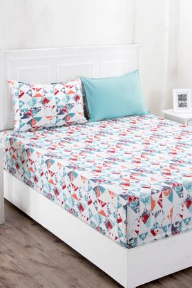Superfine Cotton Multi Bright King Bedsheet with 2 Pillow Covers - 210 TC