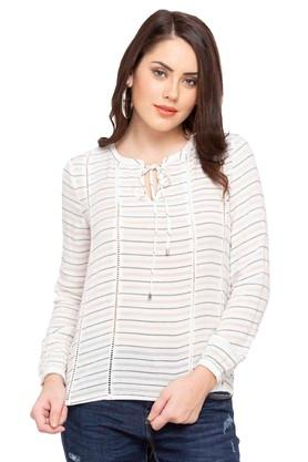 Womens Tie Up Striped Top