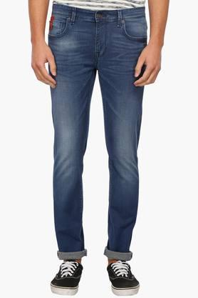 INDIAN TERRAIN Mens Rinse Wash 5 Pocket Cotton Stretch Jeans (Brooklyn Fit)