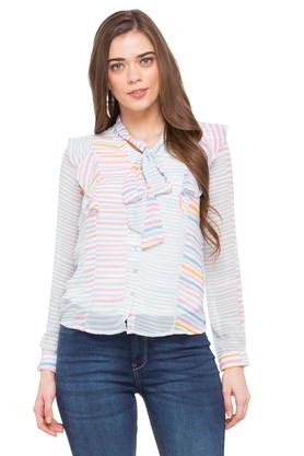 Womens Tie Up Neck Striped Top