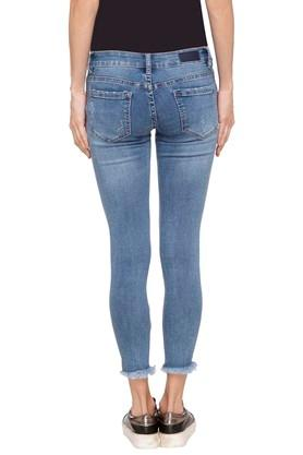 Womens 5 Pocket Whiskered Effect Jeans
