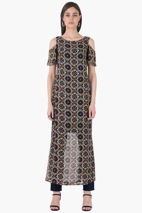 INDYAWomens Round Neck Printed Regular Fit Kurta - 203316687