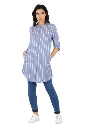 Womens Mandarin Collar Stripe Shirt Tunic