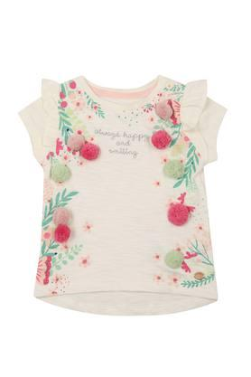 Girls Round Neck Applique Tee