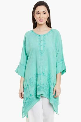 LABEL RITU KUMAR Womens Round Neck Printed Kurta