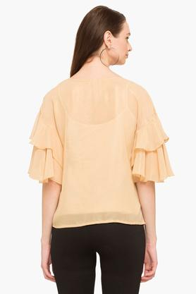 Womens Round Neck Embellished Shimmer Top