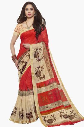 ISHINWomens Art Silk Printed Saree - 203495554_9111