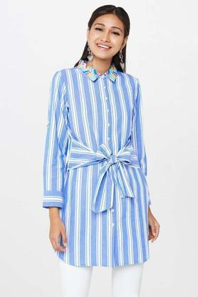 GLOBAL DESI Womens Shirt Collar Striped Shirt Dress