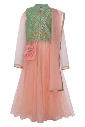 Girls Mandarin Collar Lace Churidar Suit with Jacket and Sling Bag