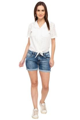 Womens Notched Lapel Perforated Tie Up Shirt