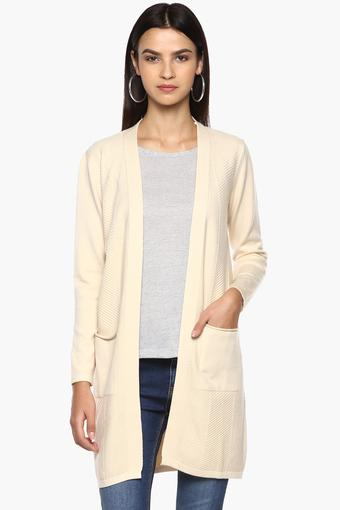 Womens Open Front Solid Knitted Cardigan