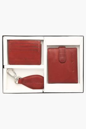 VETTORIO FRATINI Mens Leather 1 Fold Wallet With Card Holder And Key Ring Set