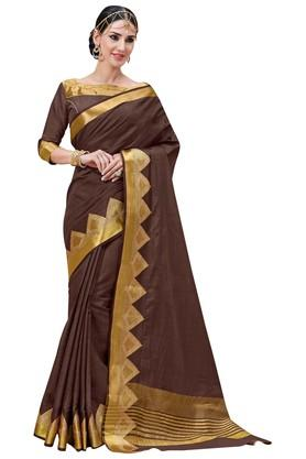 ASHIKA Plain Tussar Silk Saree With Blouse Piece