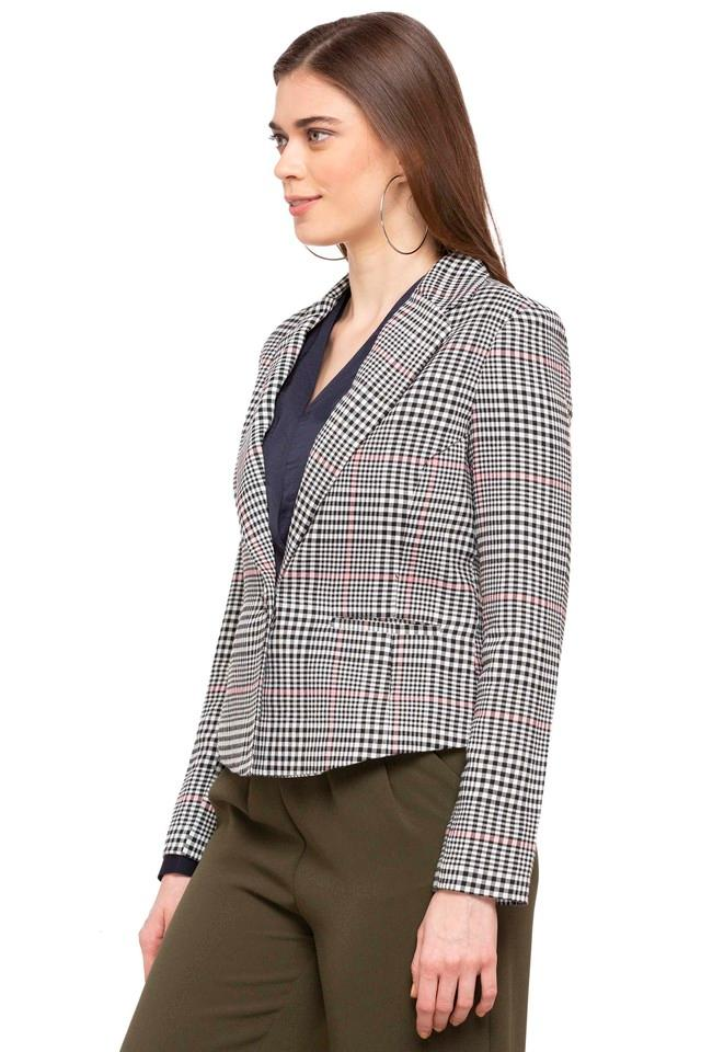 Womens Notched Lapel Checked Blazer