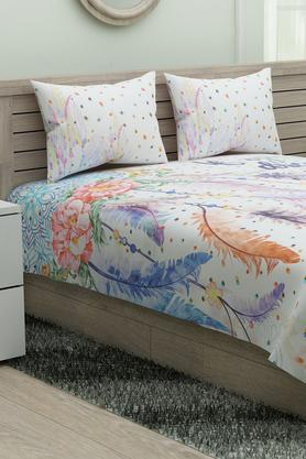 SPACES Printed Calliart King Bedsheet With Pillow Cover