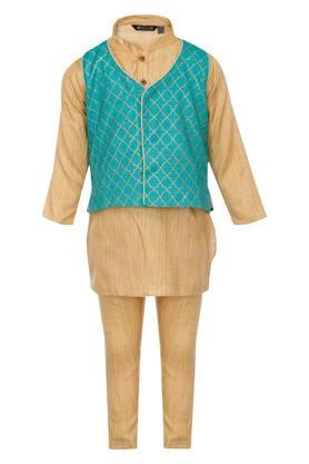 Boys Mandarin Neck Stripe Kurta Pyjama and Jacket Set