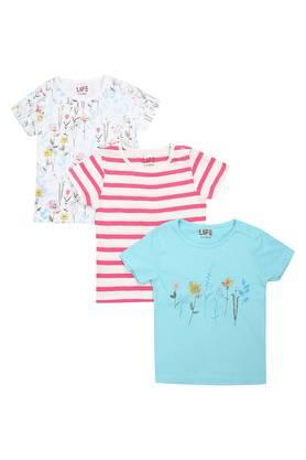 Girls Round Neck Printed and Stripe Top Pack of 3