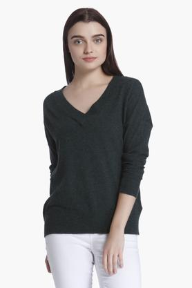 VERO MODA Womens V-Neck Textured Sweater