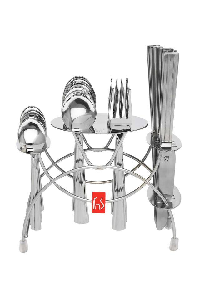 Venice Fork Spoon and Knife Set with Cutlery Holder - Set of 24