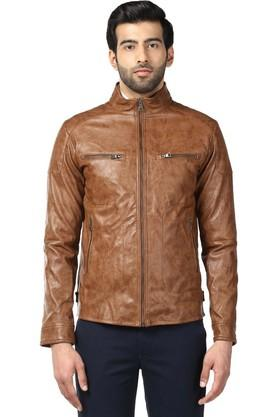 Mens Regular Fit Zip Through Neck Solid Jacket
