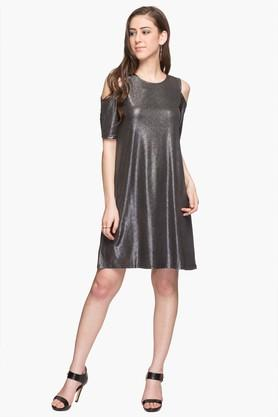 Womens Round Neck Shimmer Knee Length Dress