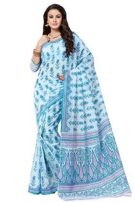 ASHIKAWomens Printed Saree With Blouse Piece