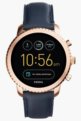 FOSSILMens Q Explorist Navy Leather Gen 3 Smart Watch - FTW4002